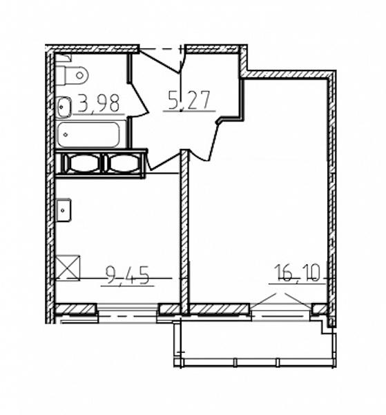 1 комнатная квартира  площадью: 36 кв.м