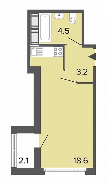 Студия  площадью: 26.3 кв.м