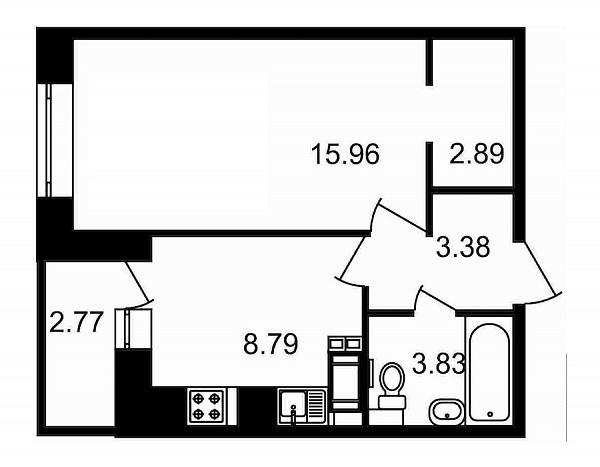 1 комнатная квартира  площадью: 37.62 кв.м
