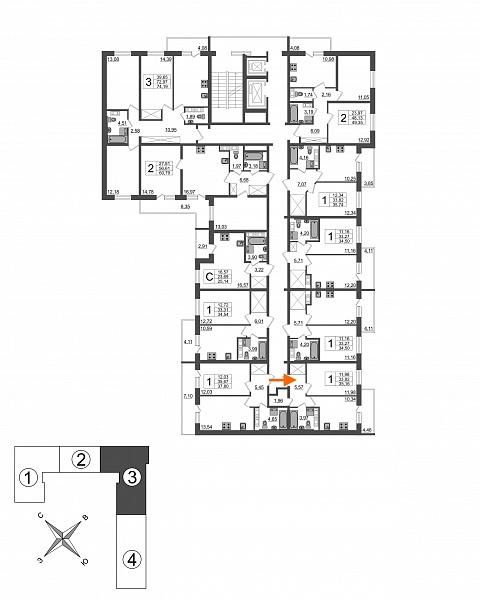 1 комнатная квартира  площадью: 35.16 кв.м