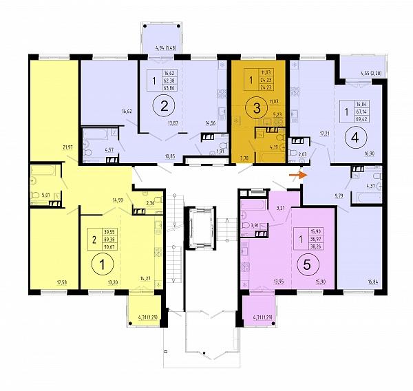 1 комнатная квартира  площадью: 67.4 кв.м