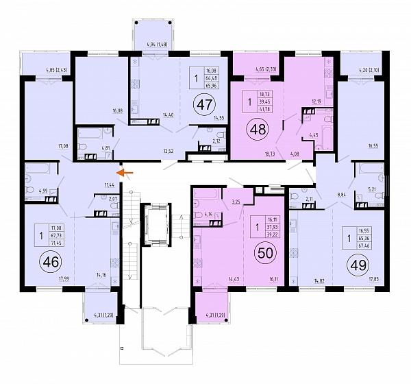 1 комнатная квартира  площадью: 68 кв.м