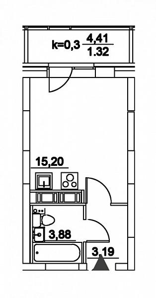 Студия  площадью: 23.59 кв.м