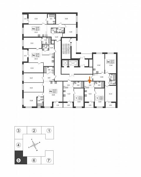 1 комнатная квартира  площадью: 33.89 кв.м