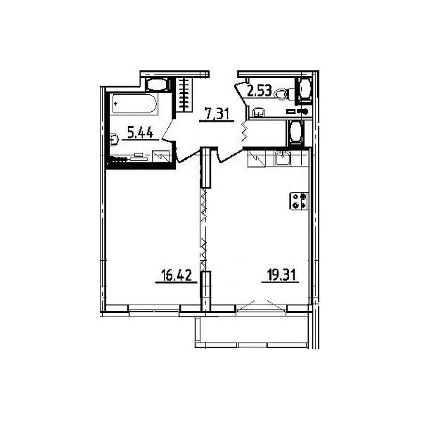1 комнатная квартира  площадью: 52.9 кв.м