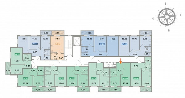 1 комнатная квартира  площадью: 36.7 кв.м