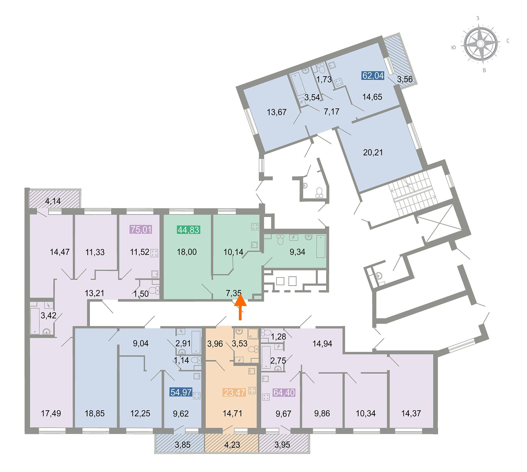 1 комнатная квартира  площадью: 45.3 кв.м
