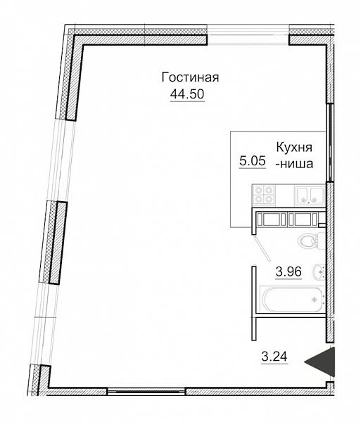 Студия  площадью: 56.75 кв.м