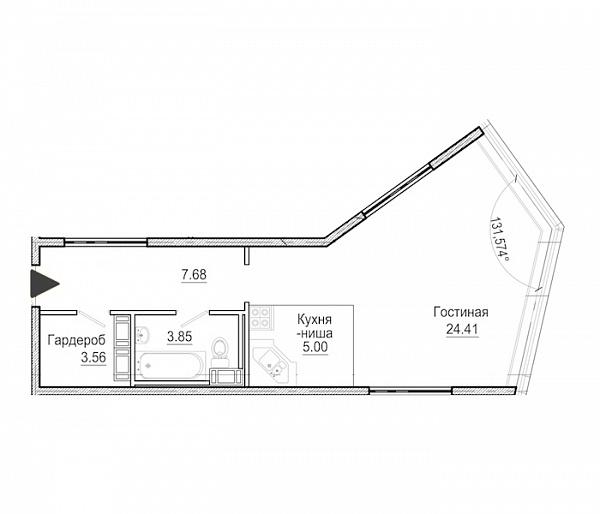 Студия  площадью: 44.5 кв.м