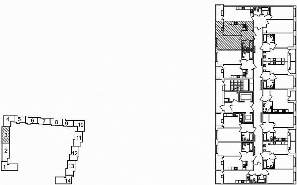 1 комнатная квартира  площадью: 41.21 кв.м