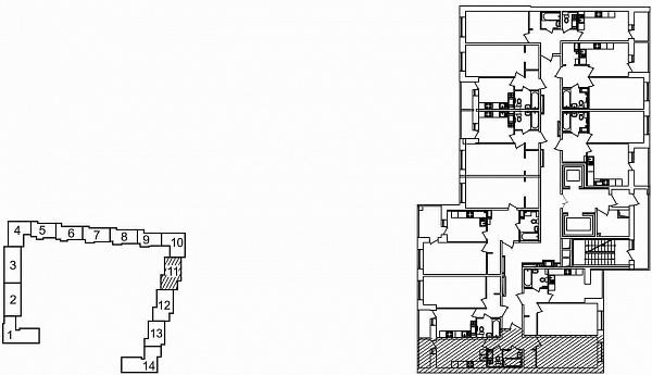 1 комнатная квартира  площадью: 42.49 кв.м