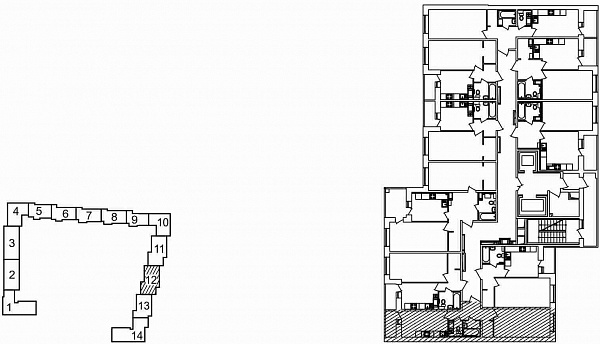 1 комнатная квартира  площадью: 42.8 кв.м
