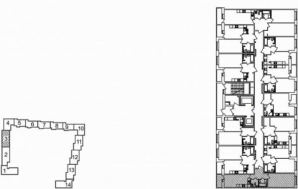 1 комнатная квартира  площадью: 44.82 кв.м