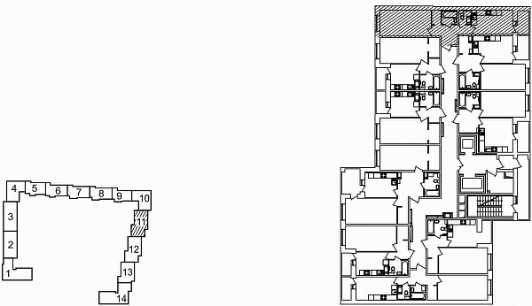 1 комнатная квартира  площадью: 46.36 кв.м