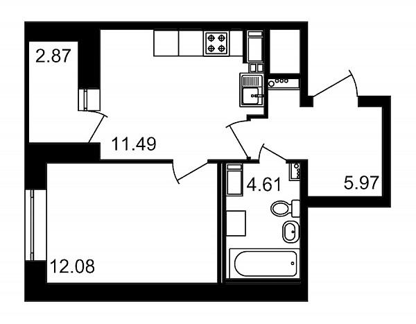 1 комнатная квартира  площадью: 37.02 кв.м