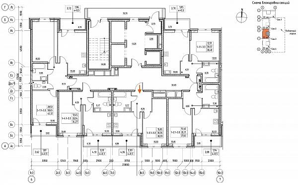 1 комнатная квартира  площадью: 38.09 кв.м