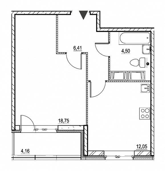 1 комнатная квартира  площадью: 43.79 кв.м
