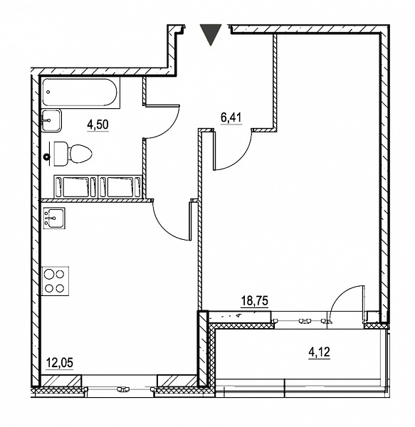 1 комнатная квартира  площадью: 44.28 кв.м