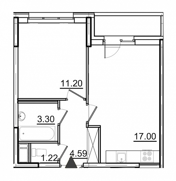 1 комнатная квартира  площадью: 38.85 кв.м