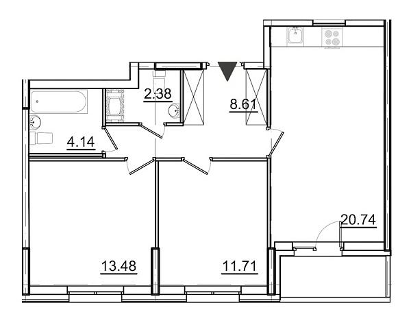 2 комнатная квартира  площадью: 62.88 кв.м
