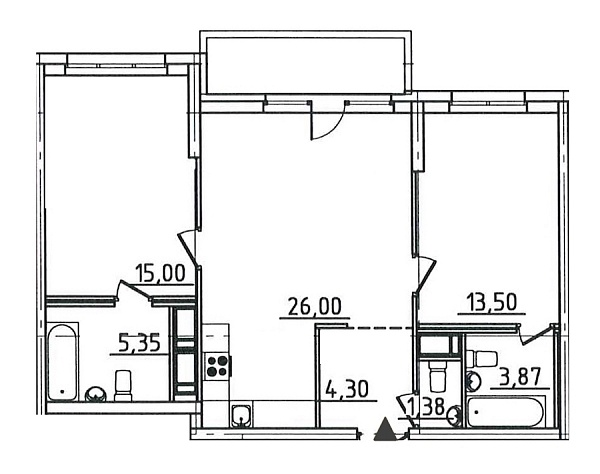 2 комнатная квартира  площадью: 70.91 кв.м
