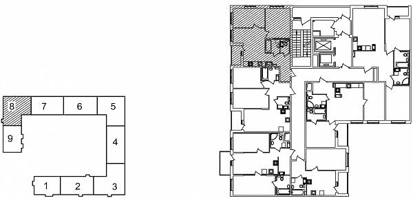 2 комнатная квартира  площадью: 55.83 кв.м