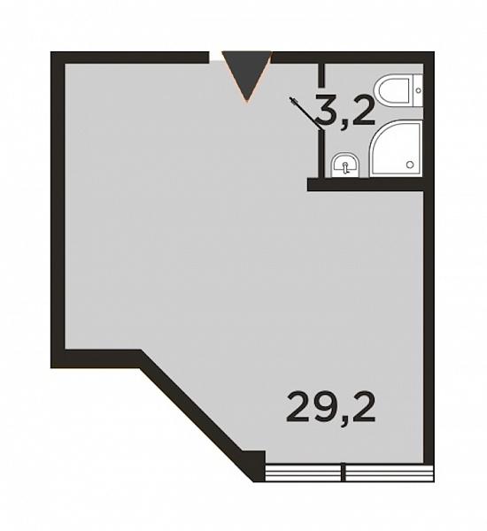 Студия  площадью: 32.4 кв.м