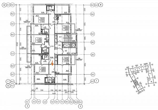 3 комнатная квартира  площадью: 77.49 кв.м