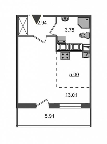 Студия  площадью: 24.73 кв.м