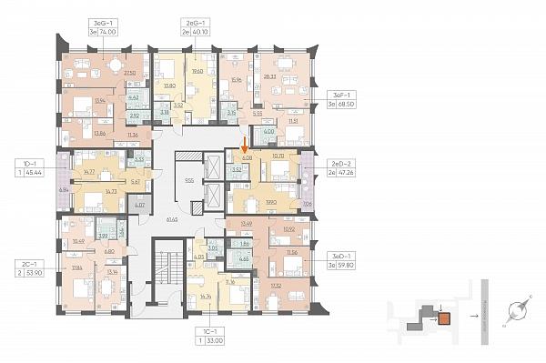 1 комнатная квартира  площадью: 47.26 кв.м