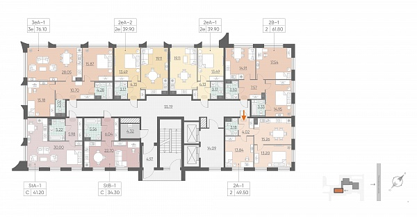 2 комнатная квартира  площадью: 49.5 кв.м