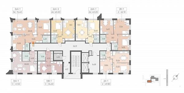 2 комнатная квартира  площадью: 76.4 кв.м