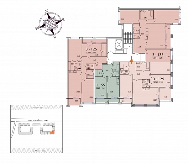 3 комнатная квартира  площадью: 129.23 кв.м