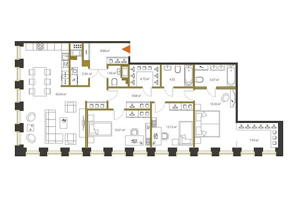 3 комнатная квартира  площадью: 134.44 кв.м