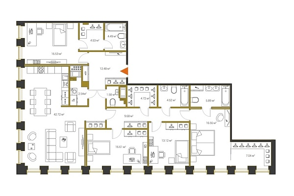 4 комнатная квартира  площадью: 163.01 кв.м