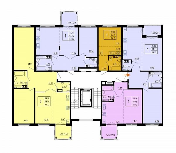 1 комнатная квартира  площадью: 67.7 кв.м