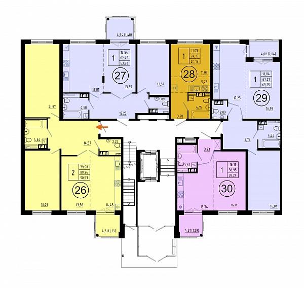 2 комнатная квартира  площадью: 90.3 кв.м