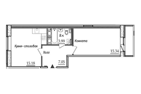 1 комнатная квартира  площадью: 42.99 кв.м