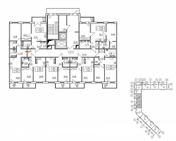 1 комнатная квартира  площадью: 42.11 кв.м