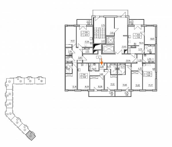 2 комнатная квартира  площадью: 53.28 кв.м