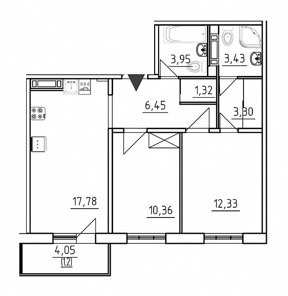 2 комнатная квартира  площадью: 60.12 кв.м